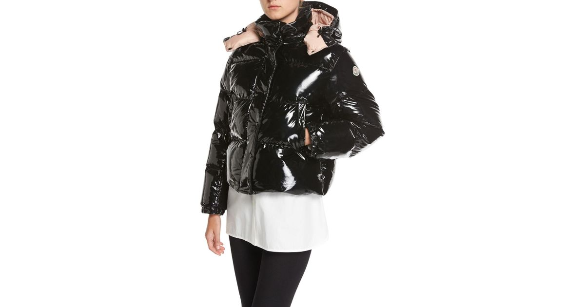 abc07f956 Moncler Black Gaura Shiny Puffer Quilted Coat