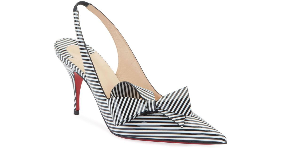 27f7130ff0c Christian Louboutin Multicolor Clare Nodo Striped Side-bow Red Sole  Slingback Pumps