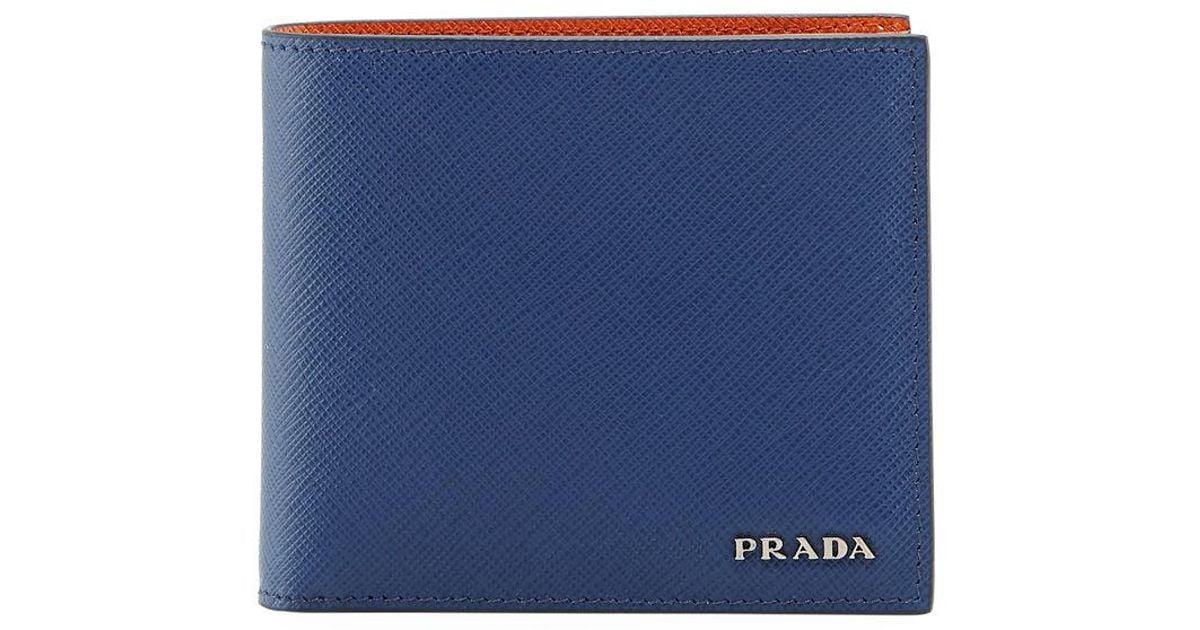 43b16f92399c78 ... new arrivals lyst prada saffiano leather bi fold wallet in orange for  men 7701e 8f5ad
