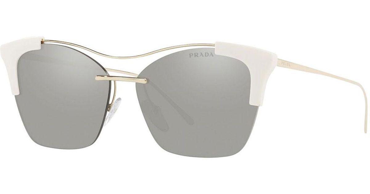 8c91a9a4cd new arrivals lyst prada mirrored semi rimless butterfly sunglasses in  metallic 616a3 e1a84 ...