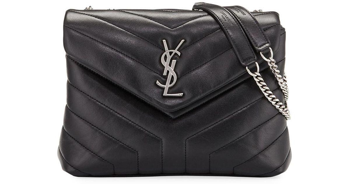 7d82e4bd2d9 Saint Laurent Loulou Monogram Ysl Small V-flap Chain Shoulder Bag - Miroir  Hardware in Black - Lyst