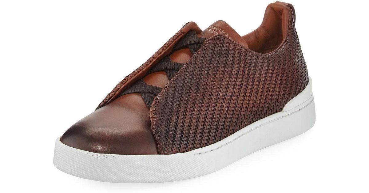 8c807ab1 Ermenegildo Zegna Brown Men's Couture Triple-stitch Pelle Tessuta Leather  Low-top Sneakers for men
