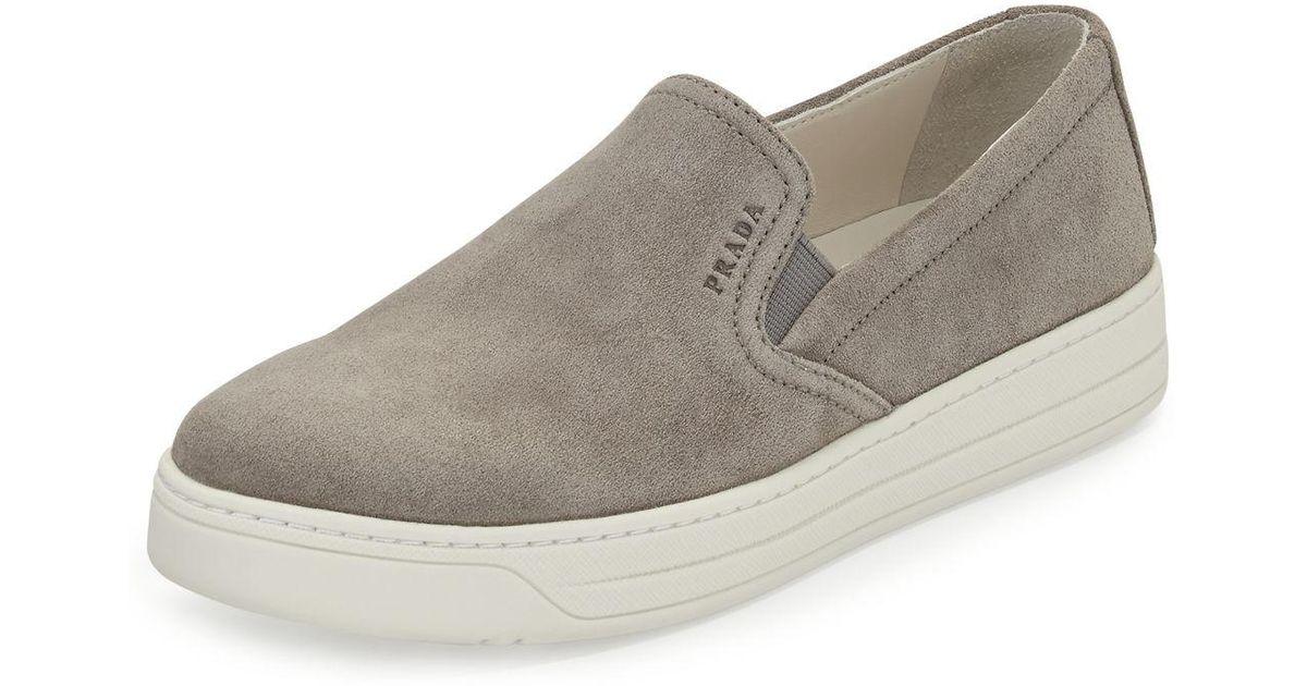 Prada Suede Skate Sneaker in Gray for