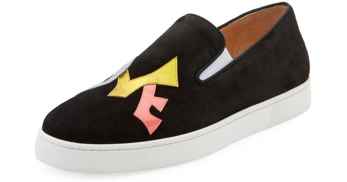 the latest 2f0b8 c9eeb Christian Louboutin Black Men's Love Applique Suede Slip-on Sneakers for men