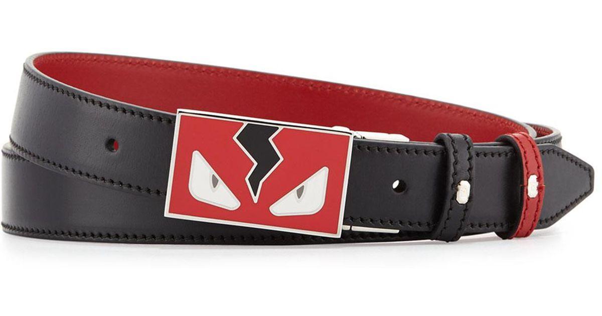 5790f79d7e Fendi Red Monster Eyes Reversible Leather Belt for men