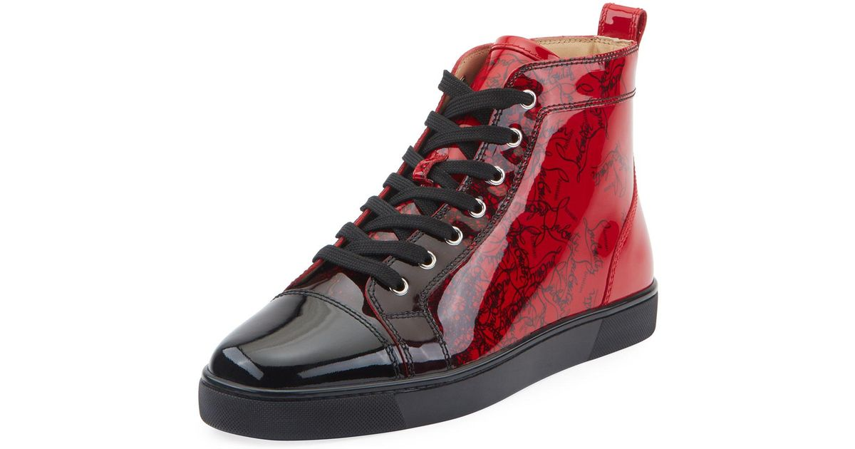 sports shoes 60d19 0a0d0 Christian Louboutin Black Men's Louis Ombre Patent Leather High-top Sneakers