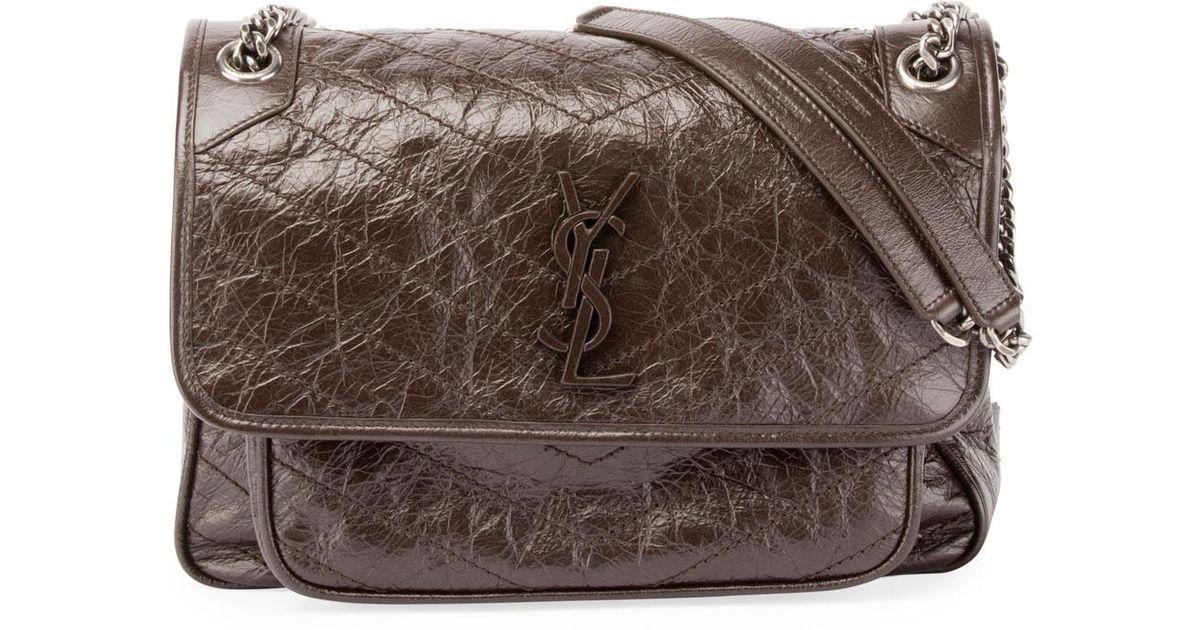 7a7919bbcc Lyst - Saint Laurent Monogram Ysl Niki Medium Shoulder Bag in Brown