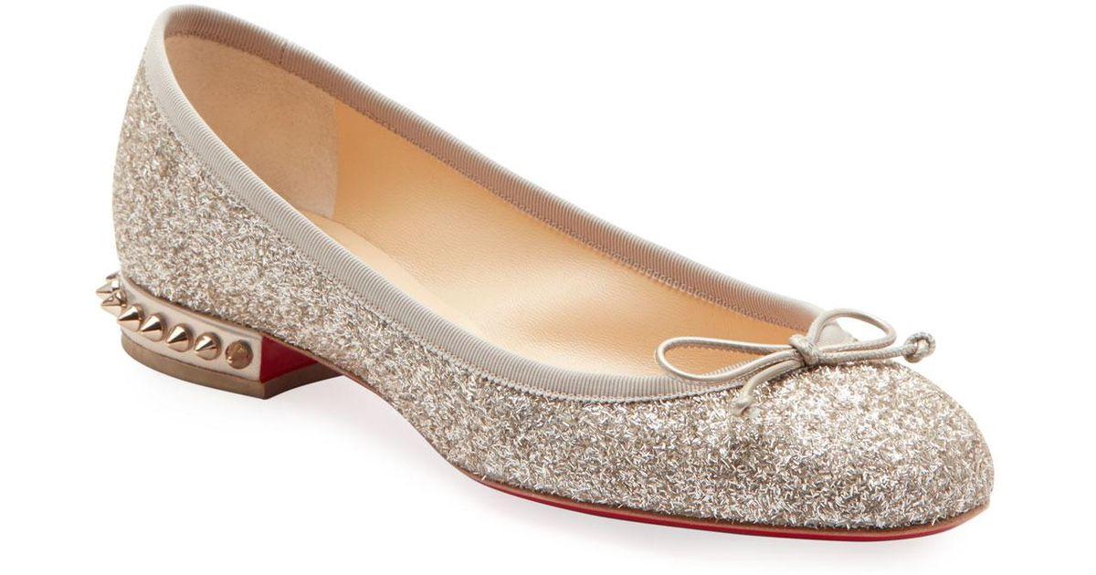 d2d516e4cc Christian Louboutin La Massine Glitter Spike Red Sole Ballet Flats in  Natural - Lyst