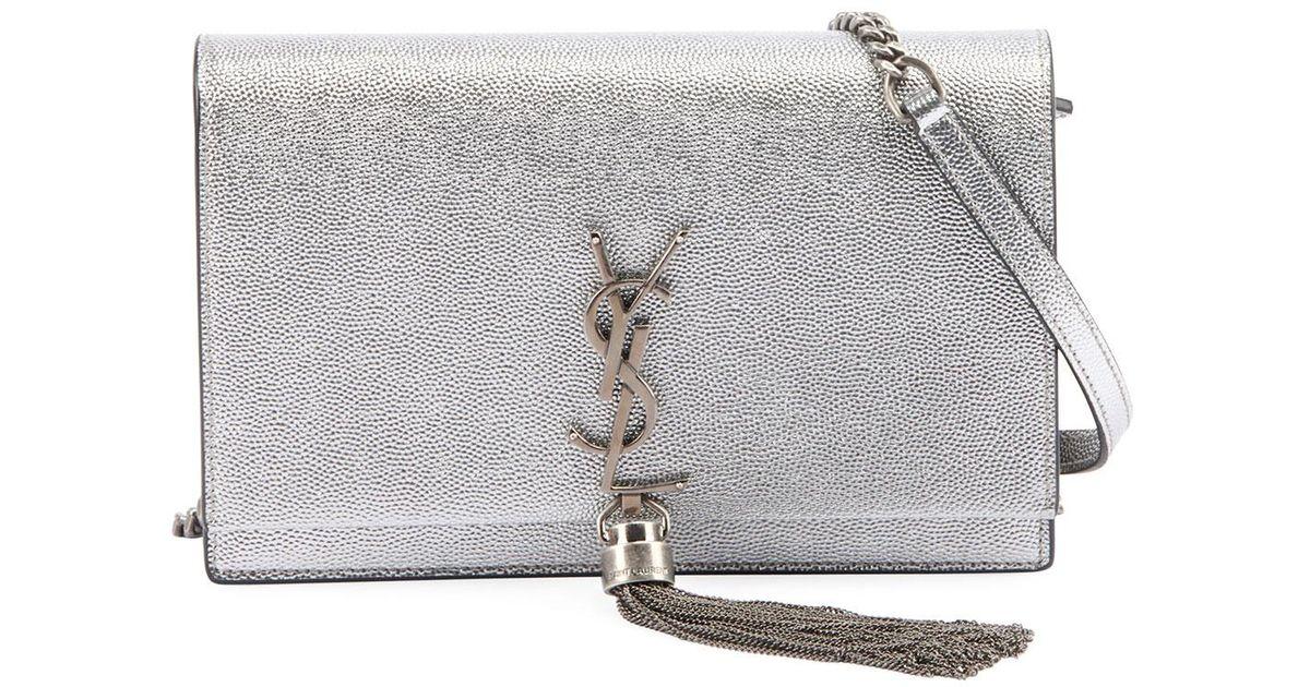 23765f6885a7 Lyst - Saint Laurent Kate Monogram Ysl Small Crackled Metallic Tassel Wallet  On Chain - Silver Hardware in Metallic