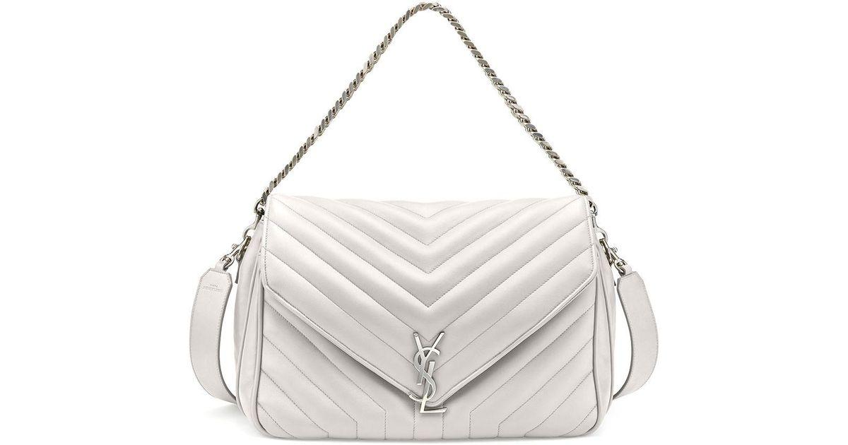 5d5a10a04dde Saint Laurent Monogram Large Slouchy Matelassé Leather Shoulder Bag in  White - Lyst