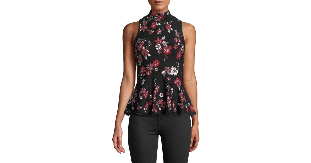 af10a5ae60759e Lyst - MILLY Twilight Floral-print Sleeveless Flare Top in Black - Save 60%