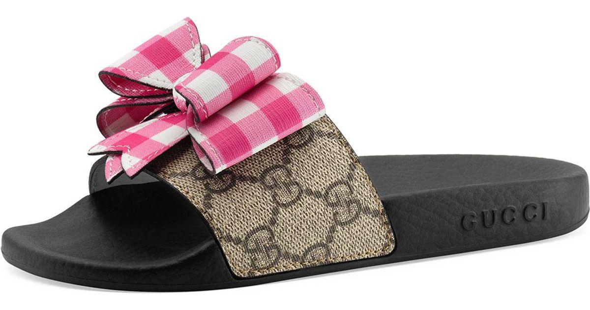 d859d329 Gucci Natural Pursuit Gg Supreme Slide Sandal W/ Bow