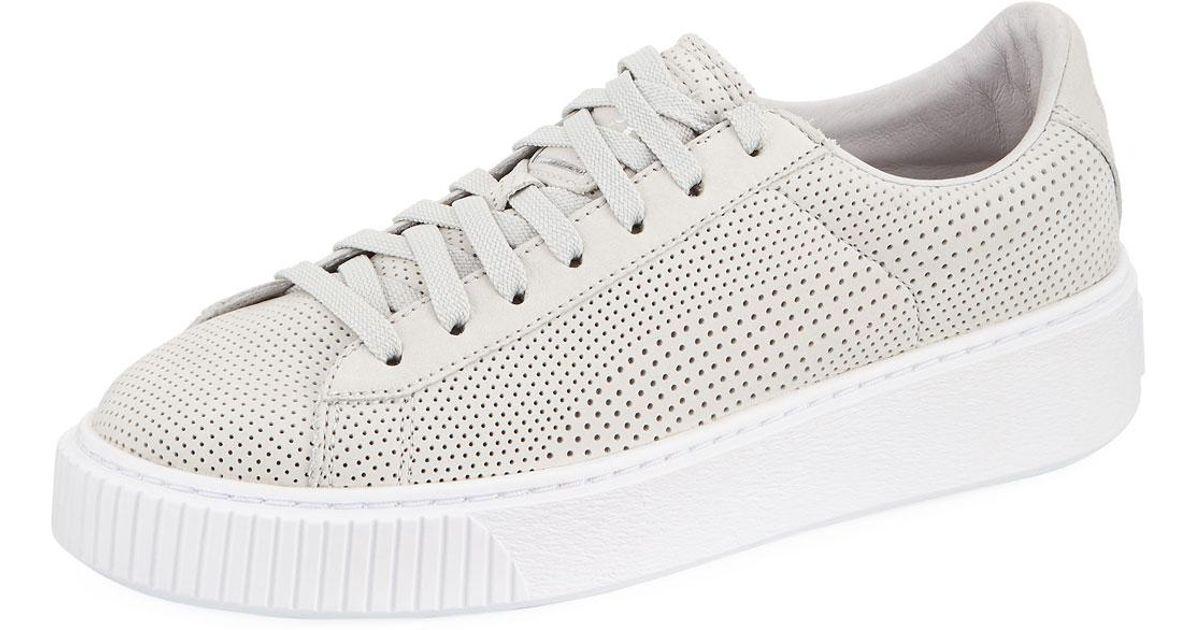 PUMA Gray Basket Platform Perforated Sneakers