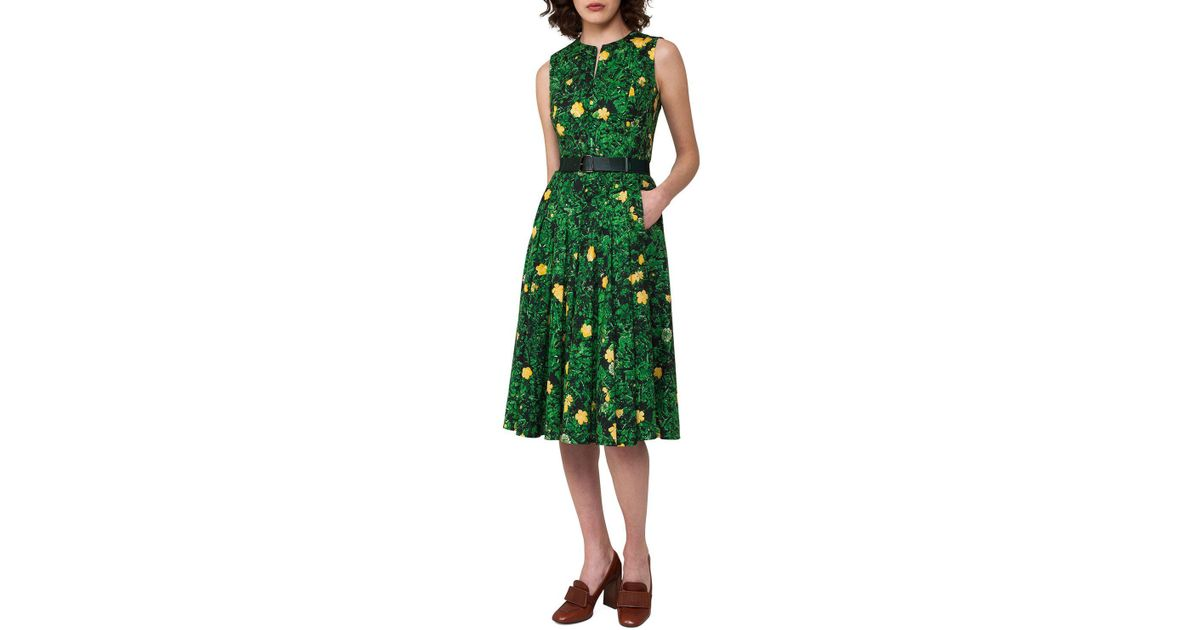 54405086c4 Lyst - Akris Buttercup Floral-print Belted A-line Dress in Green
