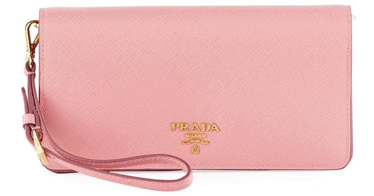 07908255f4d7 ... authentic lyst prada saffiano flap phone wristlet wallet w crossbody  strap in pink 4aa9e d4af2
