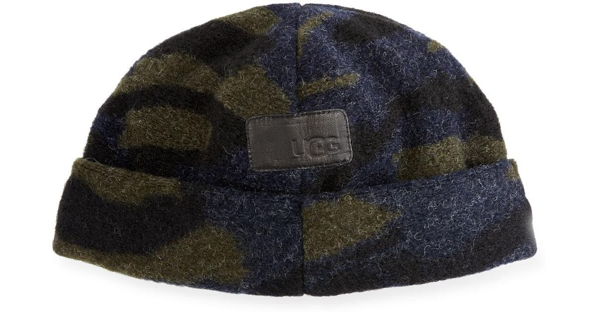 Lyst - UGG Men s Fuzzy Camouflage Beanie in Green for Men a239fa26302