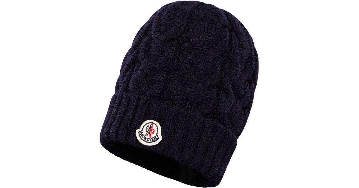 Lyst - Moncler Kids  Berretto Virgin Wool Cable-knit Beanie Hat in Black  for Men db49d3d8c4b