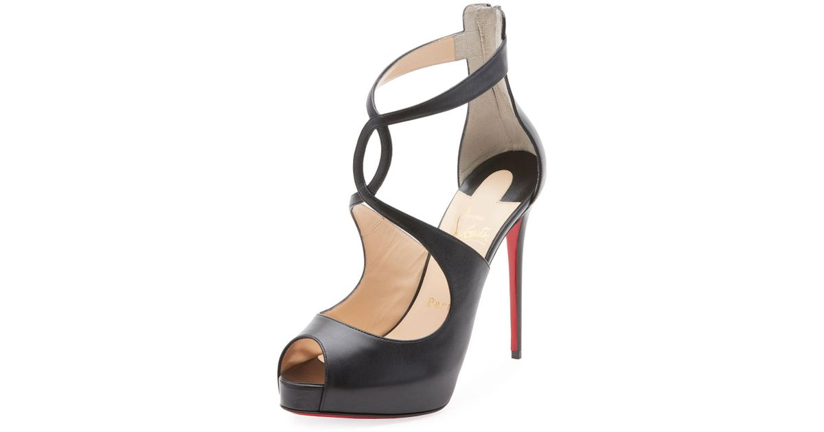 814a9ded714 Lyst - Christian Louboutin Rosie Calf Leather Platform Red Sole Pumps in  Black