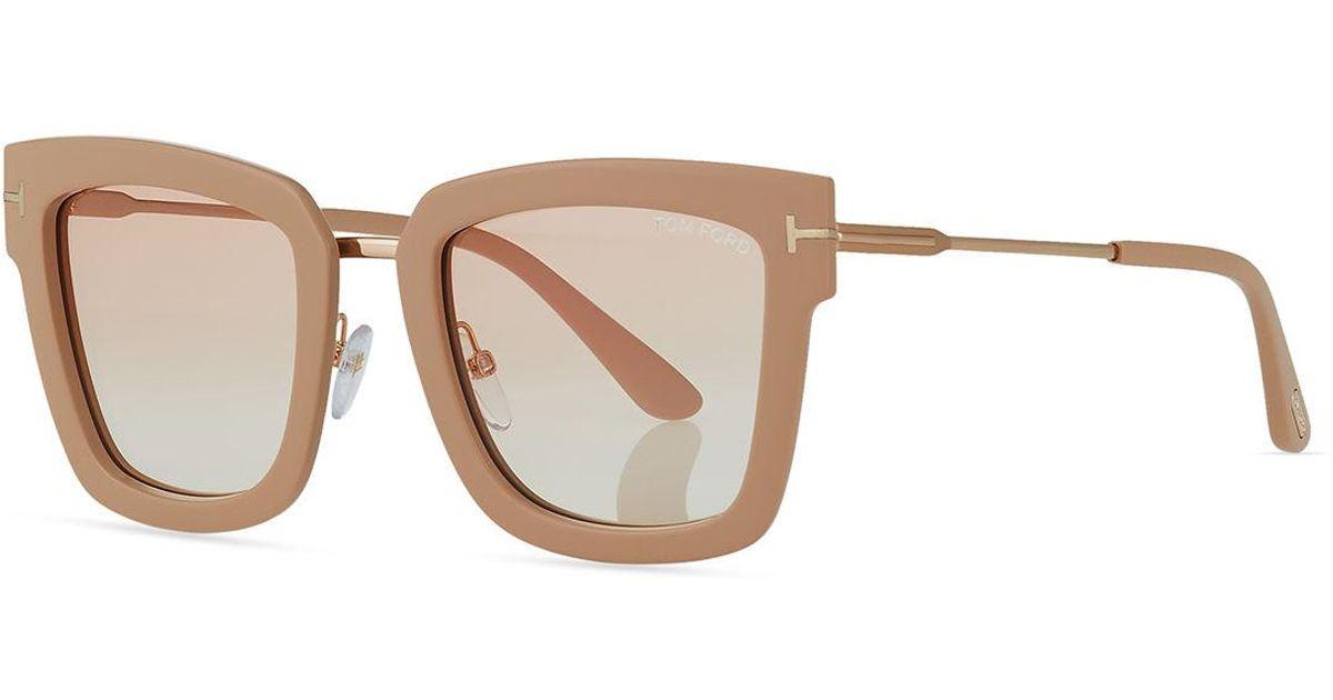 deb64fe448bd Lyst - Tom Ford Lara Acetate   Metal Square Sunglasses