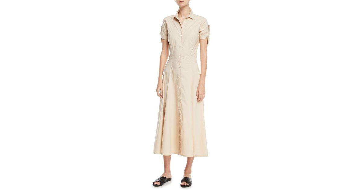 c52c53b30ea Theory Stretch Cotton Shirt Dress W/ Tie Sleeves in Natural - Lyst