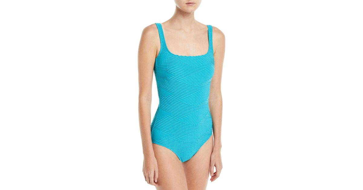 196279e4b9898 Gottex Essence Square-neck One-piece Textured Swimsuit in Blue - Lyst