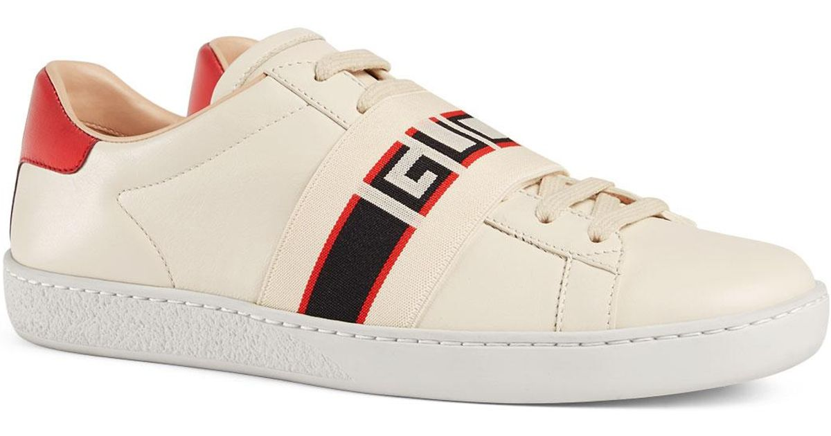 23107767c1f Lyst - Gucci New Ace Band Leather Sneaker in White - Save 23%