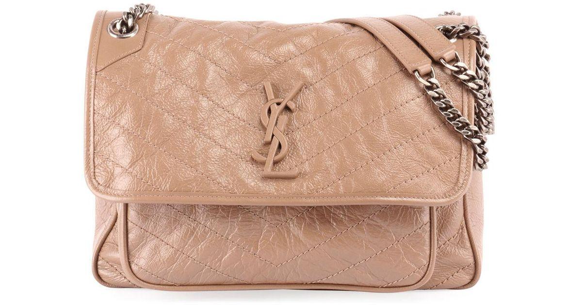 edddd5394e Saint Laurent Niki Medium Monogram Ysl Shiny Waxy Quilted Shoulder Bag -  Lyst