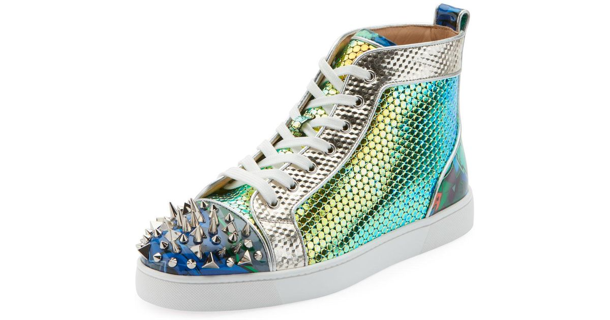 detailed look ee50c a901a Christian Louboutin Green Men's Spiked Metallic Holographic Mid-top Sneakers