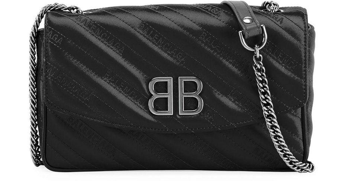 d513c590fe62a Balenciaga Bb Satin Wallet On A Chain in Black - Lyst