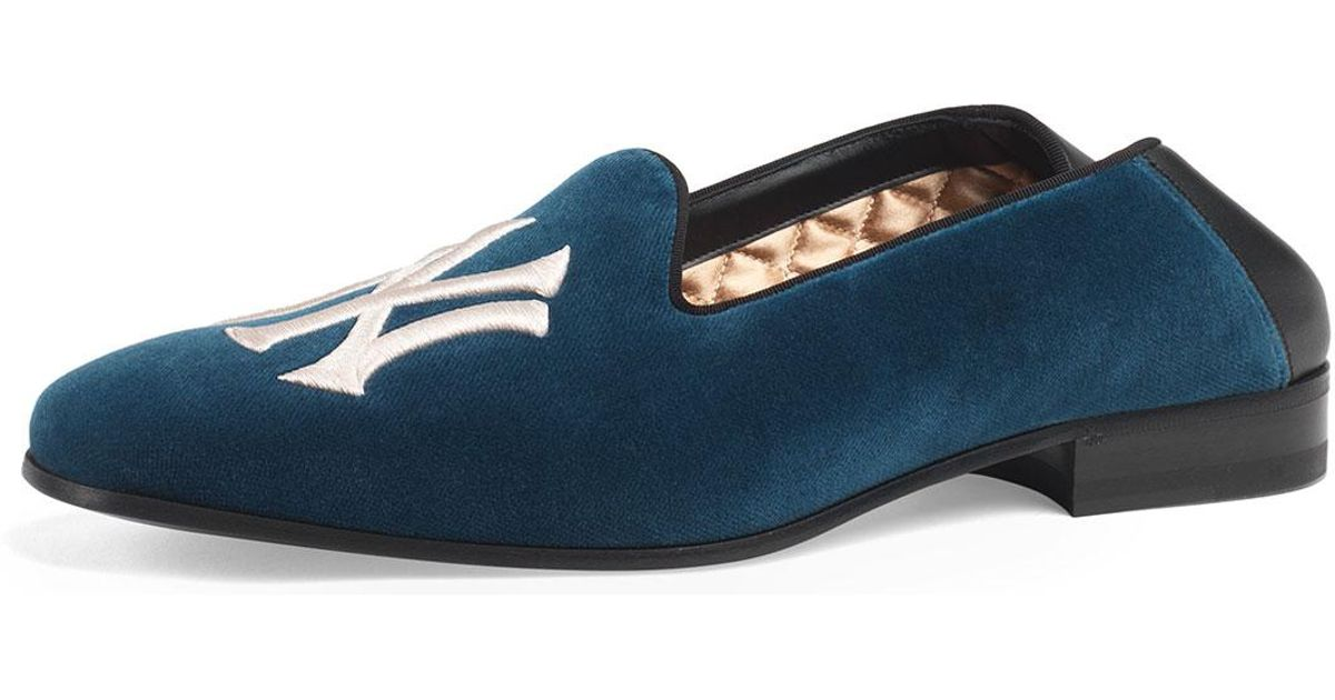 a6436d301bff9 Lyst - Gucci Men s Fold-down Velvet Loafers With Ny Yankeestm Patch in Blue  for Men