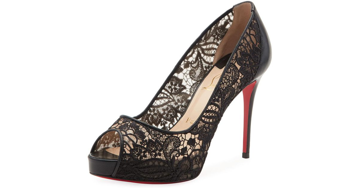 buy online ddf4d 3bf1d Christian Louboutin Black Very Lace Peep-toe Red Sole Pump