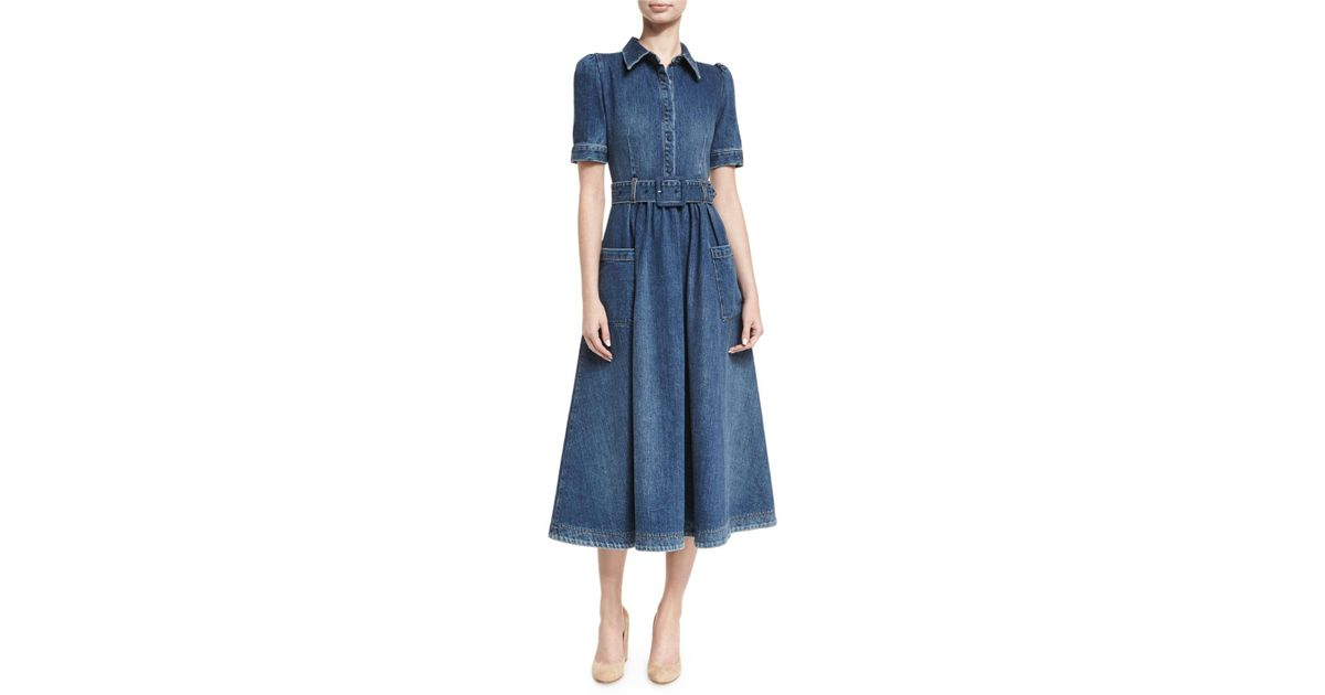 5af2d2c7dee Co. Belted Denim Midi Shirtdress in Blue - Lyst