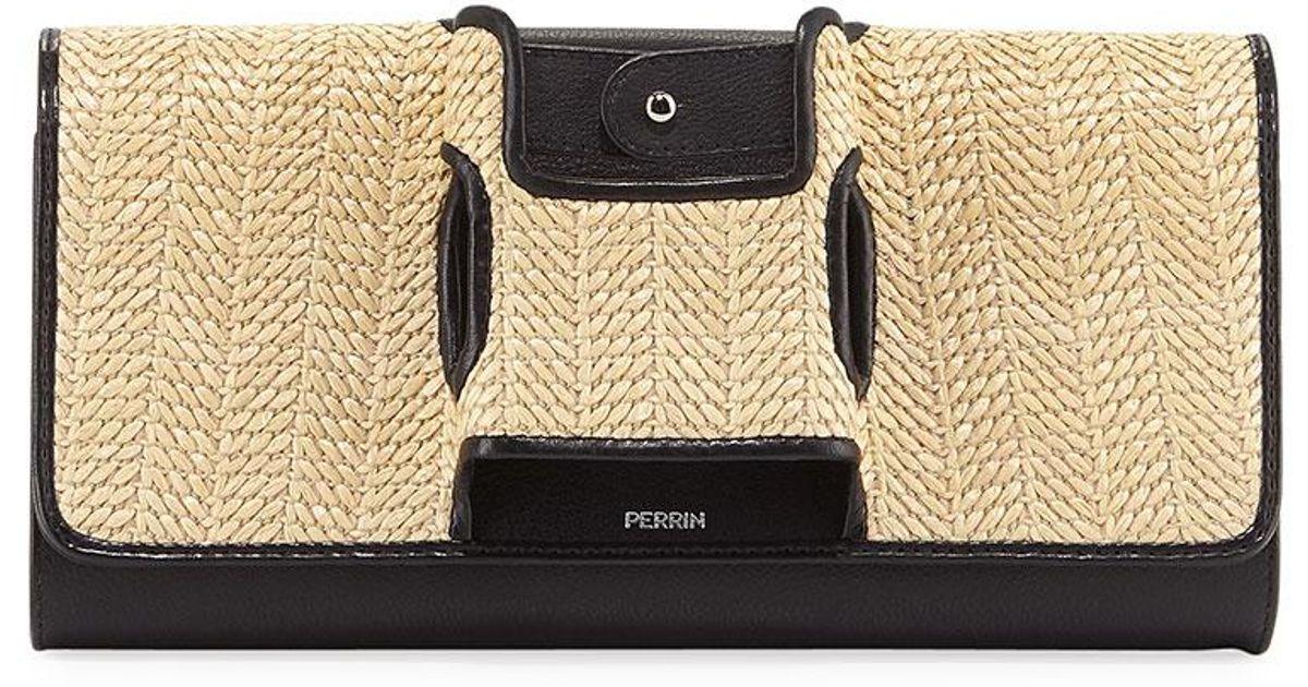 cad0a23fafb97f Lyst - PERRIN Paris La Capitale Raffia Clutch Bag in Black