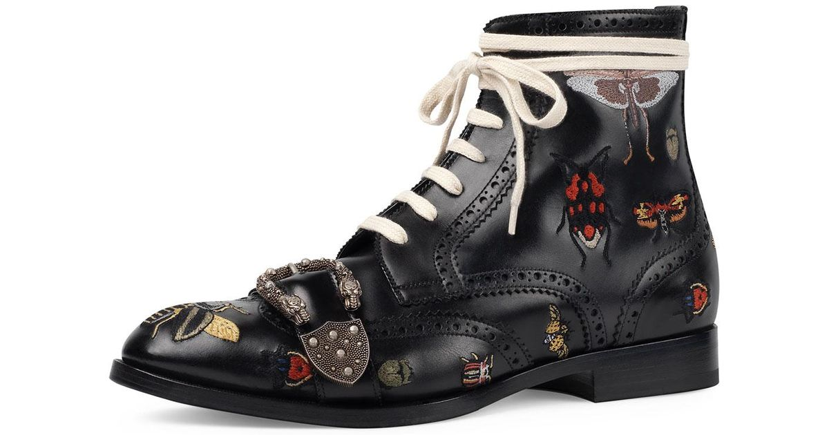 ad296375dee Lyst - Gucci Queercore Embroidered Leather Brogue Boot in Black