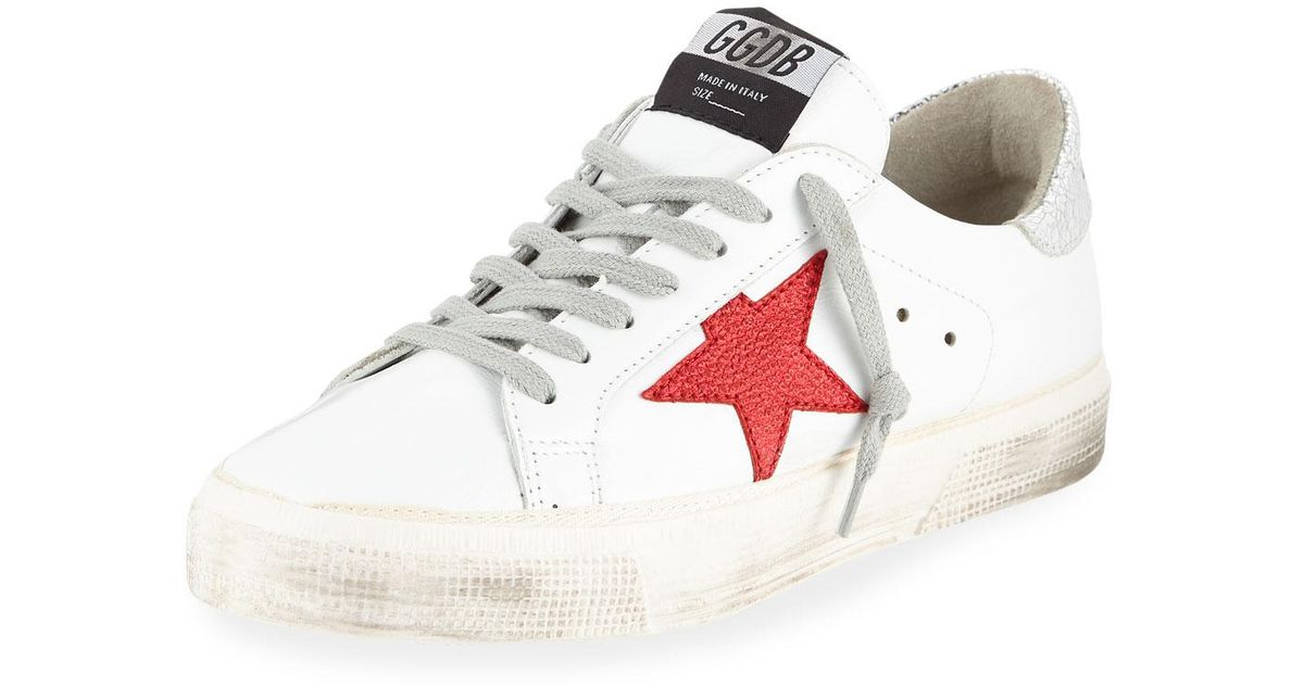 Leather Red-star Sneakers in White