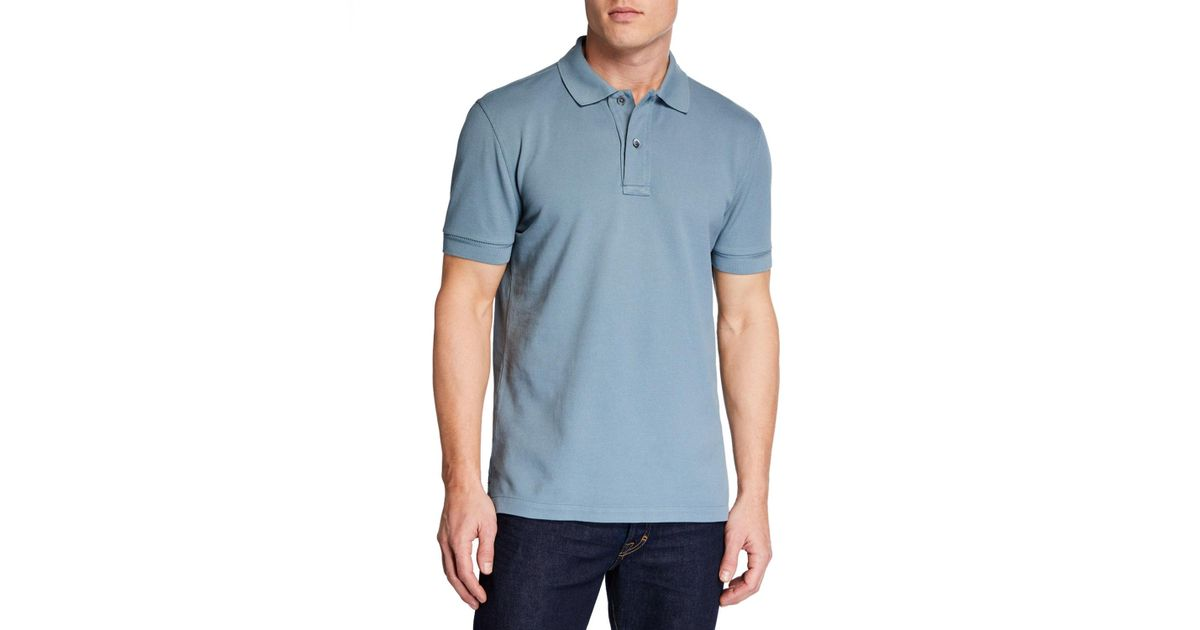 7c1ba191352ca Tom Ford Men's 2-button Pique Polo Shirt in Blue for Men - Lyst