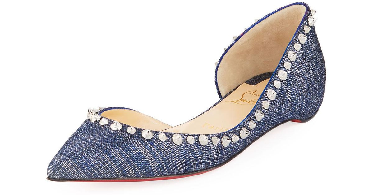 8fd0f70d072d ... norway lyst christian louboutin irishell lame lux red sole ballerina  flat in blue 04565 a8943