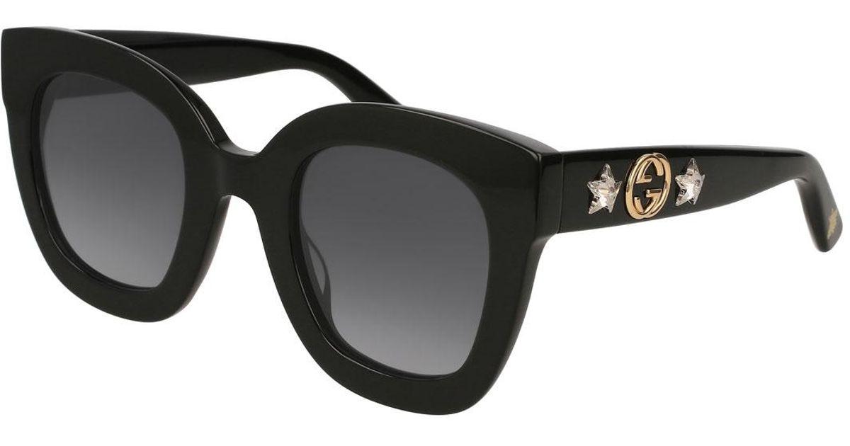 b30c08ed02f6c Gucci Rectangle Acetate GG Sunglasses W  Crystal Stars in Black - Lyst