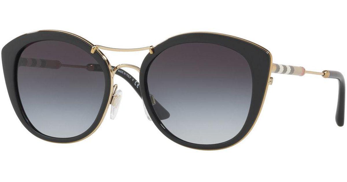 8fe025de60f27 Lyst - Burberry Round Sunglasses With Metal Trim in Black