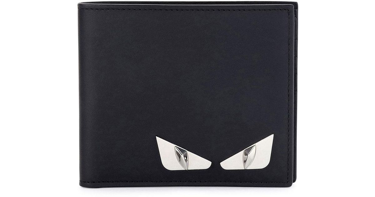 0ee95532 Fendi Black Monster Eyes Leather Bi-fold Wallet for men