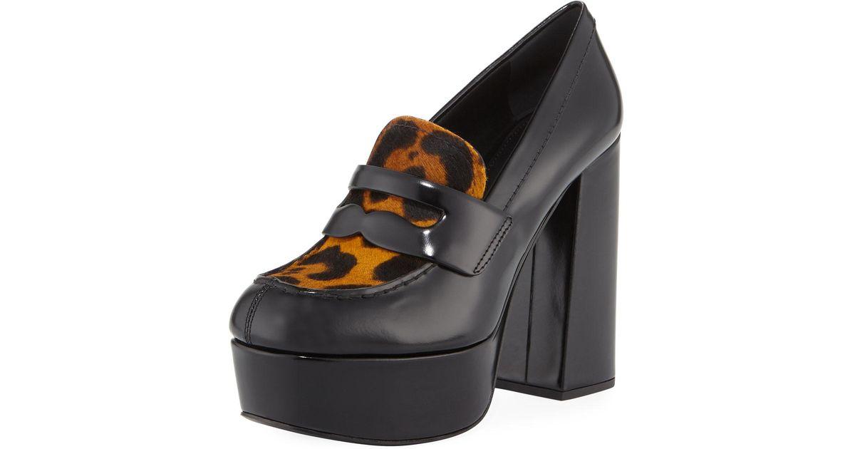 da5b44d15a9 Lyst - Prada Leopard-print Fur Loafer Pumps in Black