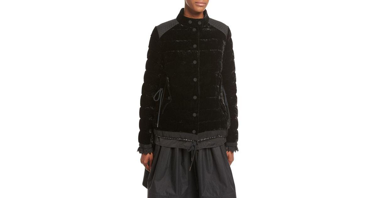 8242cd637 Moncler Black Beatrice Velvet Quilted Coat