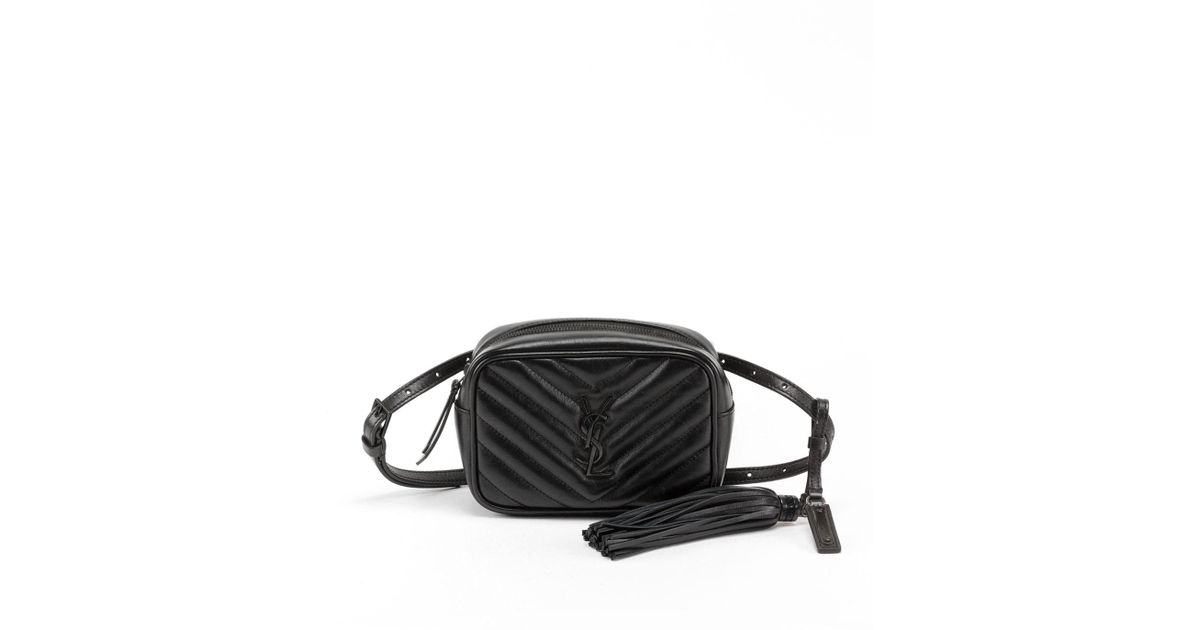 0feb34f48a Lyst - Saint Laurent Lou Monogram Ysl Quilted Leather Belt Bag - Black  Hardware in Black