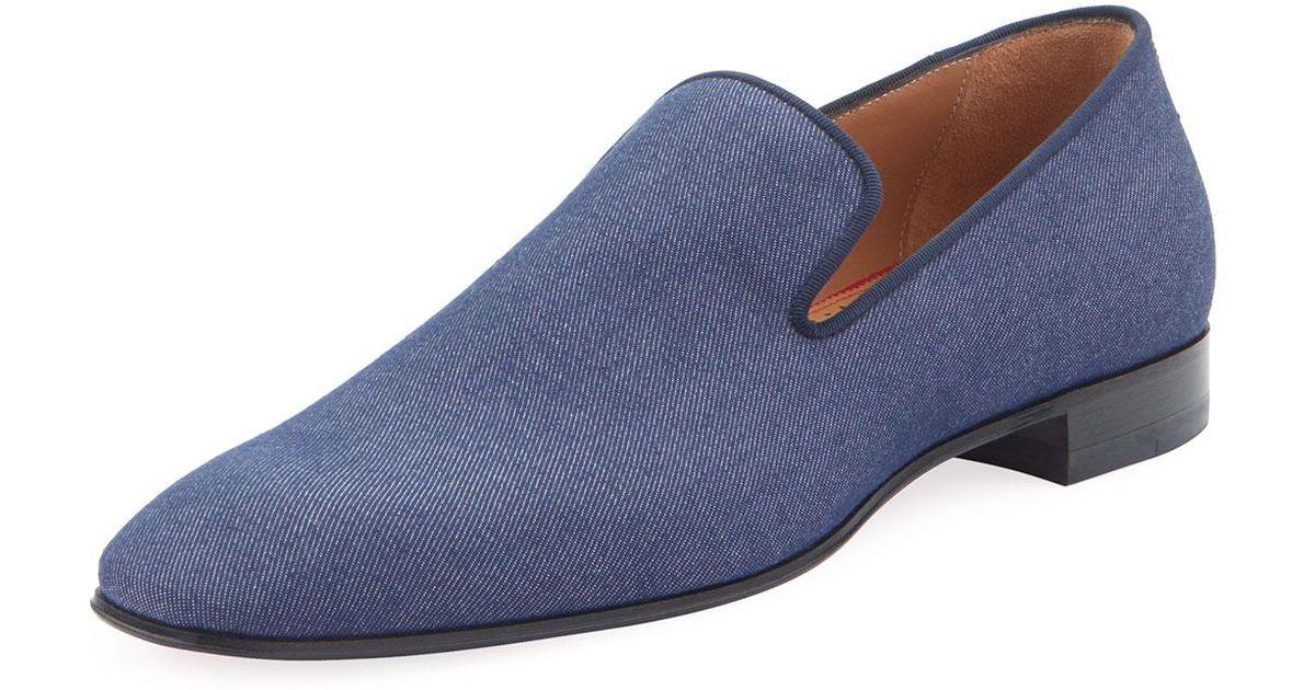 wholesale dealer db168 3656e Christian Louboutin Blue Men's Dandelion Flat Denim Loafers for men