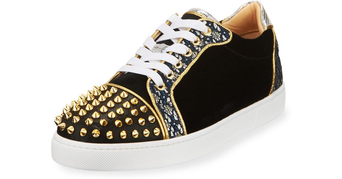 50949e25ff2a Lyst - Christian Louboutin Vieira Spikes Lace-up Low-top Sneakers in Blue