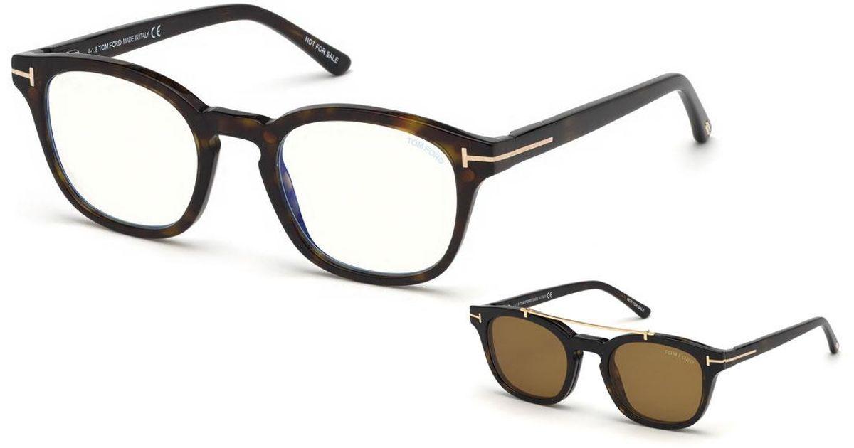 8d1774e0bc21 Lyst - Tom Ford Men s Square Optical Glasses W  Magnetic Clip On Blue Block  Lenses in Brown for Men
