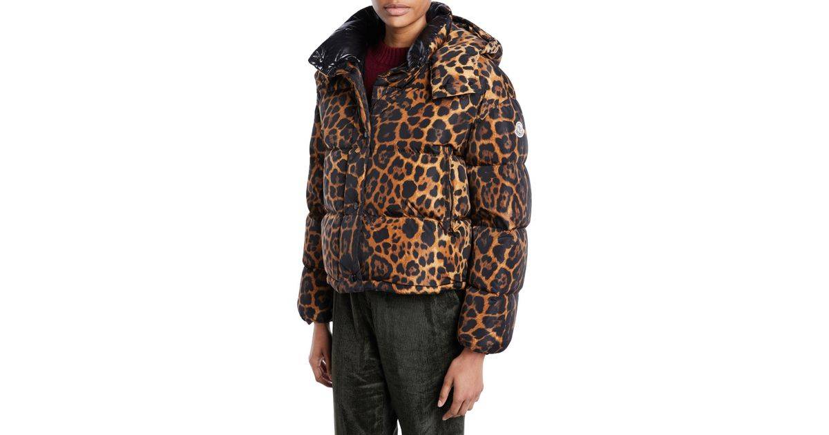 f4417d1a8 Moncler Brown Caille Animal-print Puffer Coat W/ Removable Hood