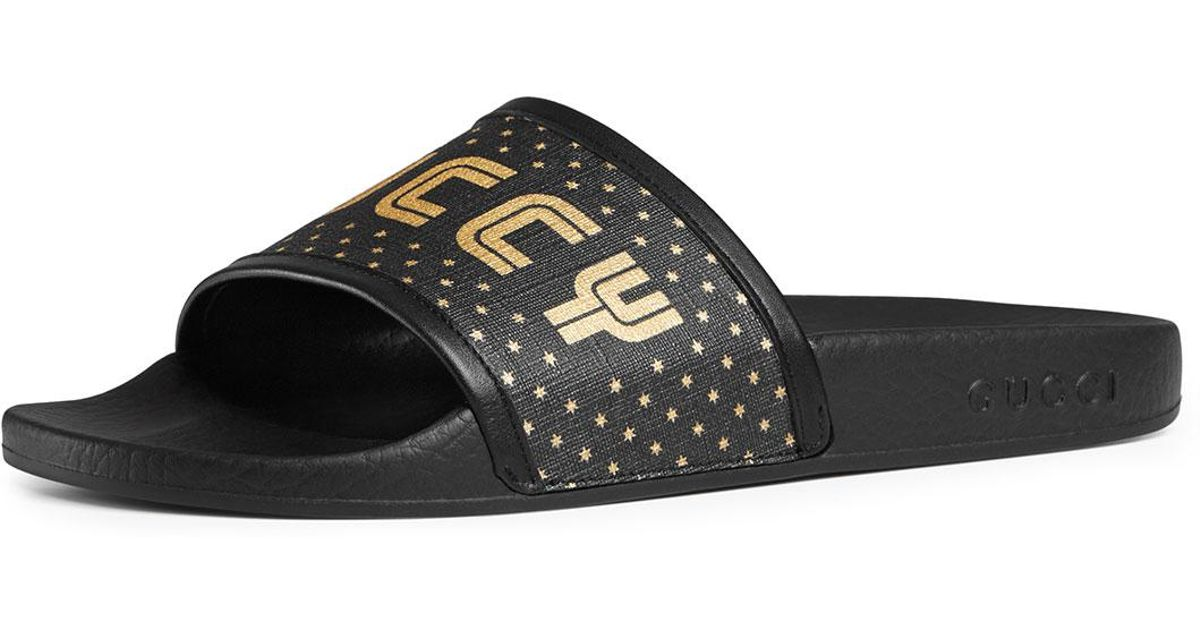 sold worldwide classic shoes new concept Gucci Black Guccy Pool Slide Sandals