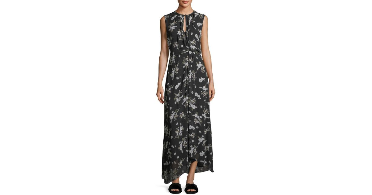 35c4b3aa1d6 Vince Tossed Floral-print Sleeveless Silk Maxi Dress in Black - Lyst