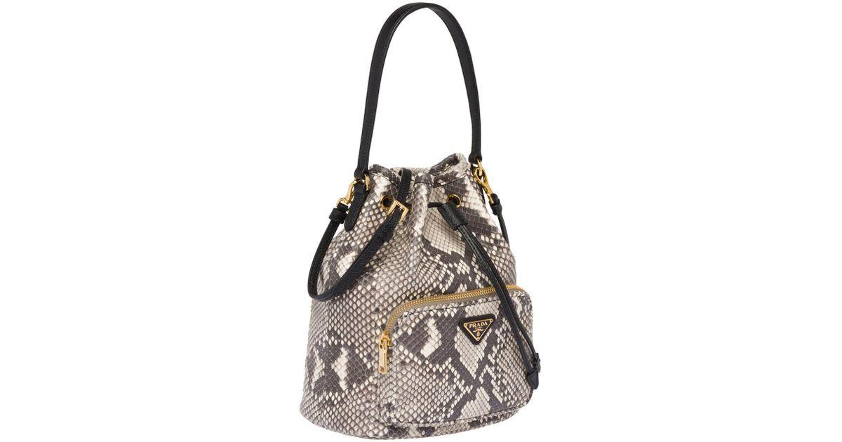 25a3083ff3 Prada - Multicolor Exotic Python Bucket Bag - Lyst